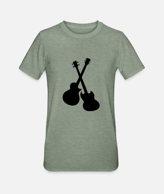 Guitar T-Shirts - Guitar vector - Unisex Polycotton T-Shirt heather military green