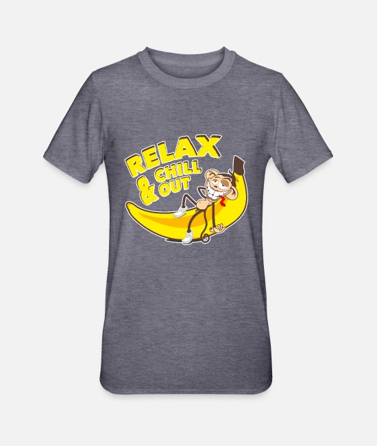 Rest T-Shirts - Relax & chill out | Affe auf Banane - Unisex Polycotton T-Shirt Navy meliert
