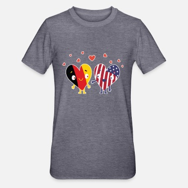 Munich German and American Flag design USA Heart Gift - Unisex Polycotton T-Shirt