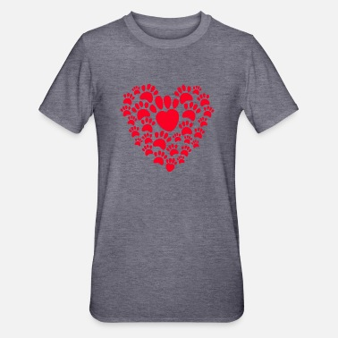 "Hd Dog design with ""heart made of red paw prints - Unisex Polycotton T-Shirt"