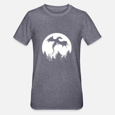 dragon in front of moon in a forest - Unisex Polycotton T-Shirt