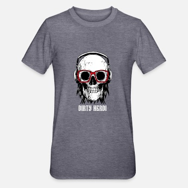 Pirat Nerdi Dirty Glasses Skull Hair long Fan Rock Vinta - Unisex Polycotton T-Shirt