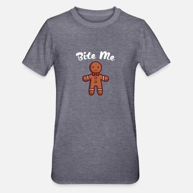 Gingerbread Man Bite Me Innuendo Naughty - Unisex Polycotton T-shirt