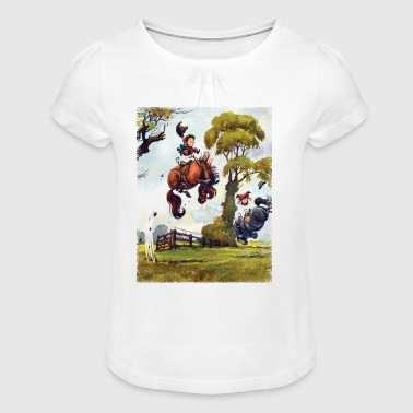 PonyRodeo Thelwell Cartoon  - Girl's T-shirt with Ruffles