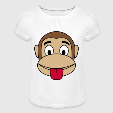Monkey cheeky tongue stick out - Girl's T-Shirt with Ruffles