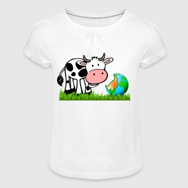 The cow nibbles the world - Girl's T-Shirt with Ruffles