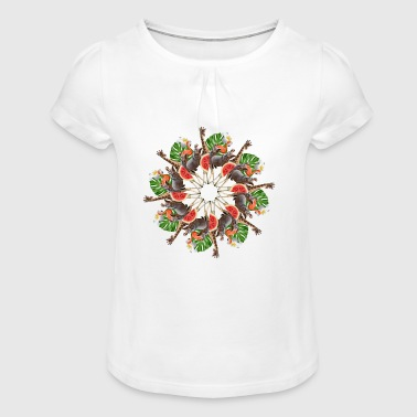 tropic animals mandala - Girl's T-Shirt with Ruffles