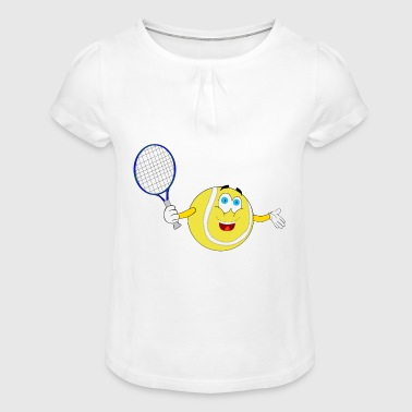 tennis Emoticon Smiley Ball - Mädchen-T-Shirt mit Raffungen