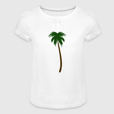 South Seas Green palm in the south sea - Girl's T-Shirt with Ruffles