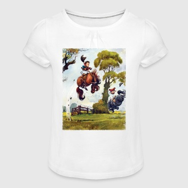 Thelwell PonyRodeo Thelwell Cartoon  - Girl's T-Shirt with Ruffles