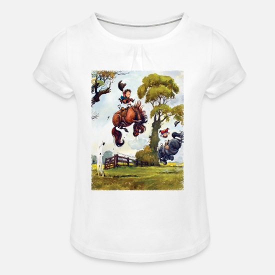 Norman T-Shirts - PonyRodeo Thelwell Cartoon  - Girls' Ruffle T-Shirt white