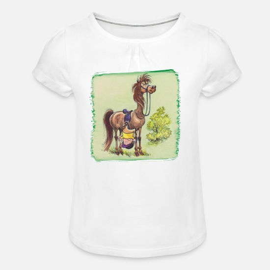Officialbrands T-Shirts - Thelwell - Rider is falling down - Girls' Ruffle T-Shirt white