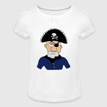 Pirate | Pirates | Pirates | Skull of the skull Caribbean - Girl's T-Shirt with Ruffles
