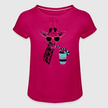 Animal Planet Africa Giraffe With Cocktail - Girl's T-Shirt with Ruffles