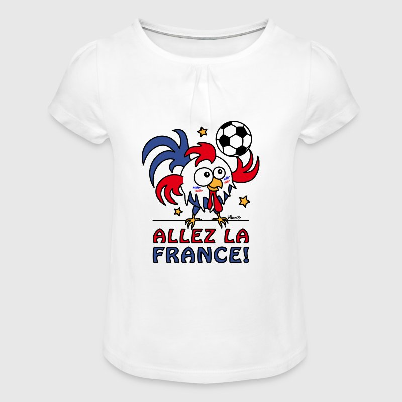 Coq Gaulois Foot Allez La France - T-shirt à fronces au col Fille
