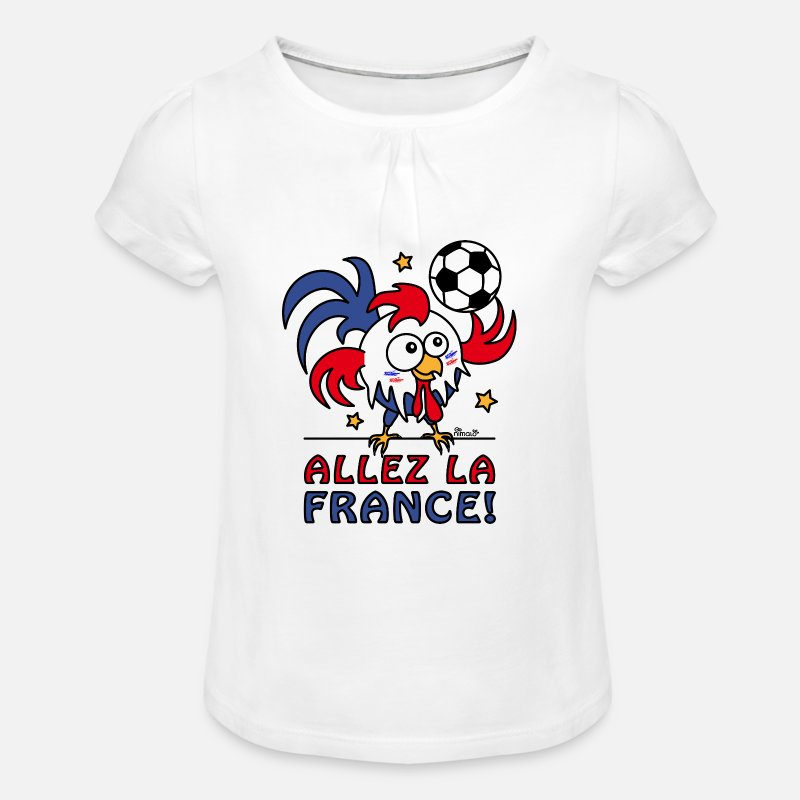 Football T-shirts - Coq Gaulois Foot Allez La France - T-shirt à fronces Fille blanc