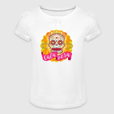 Mexican Sugar Skull of the Day of the Dead - Girl's T-Shirt with Ruffles
