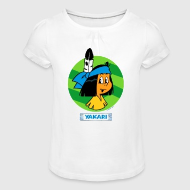 Spreadshirt Yakari Portrait Et Logo - T-shirt à fronces au col Fille