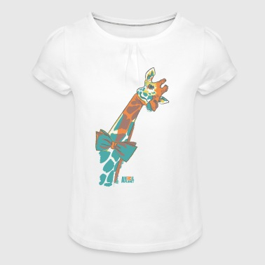 Animal Planet Africa Cute Giraffe With Bowtie - Girl's T-Shirt with Ruffles