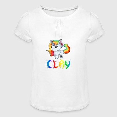 Unicorn clay - Girl's T-Shirt with Ruffles