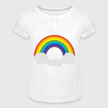 rainbow Clouds - Girl's T-Shirt with Ruffles