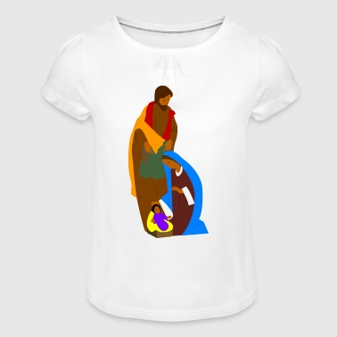 Nativity Scene - Girl's T-Shirt with Ruffles