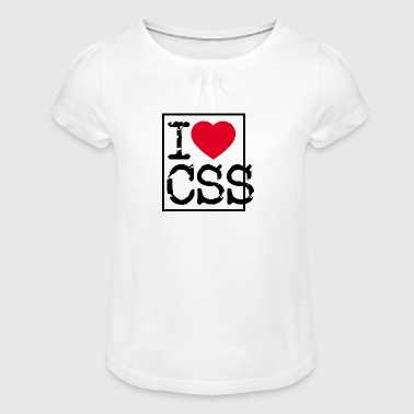 I Love CSS - Cascading Style Sheets (Dark) - Girl's T-Shirt with Ruffles