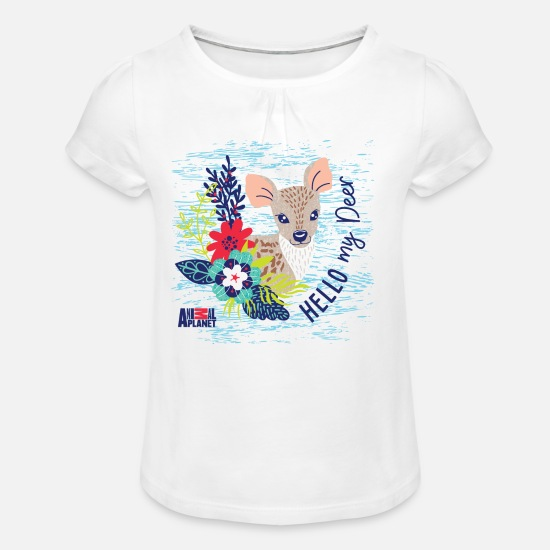Officialbrands T-Shirts - Animal Planet Too Cute Hello My Deer Quote - Girls' Ruffle T-Shirt white