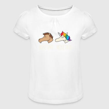 Unicorn Horse Your Aunt My Aunt Gift DE - Girl's T-Shirt with Ruffles