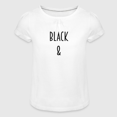 Black And White Text Shirt - Mädchen-T-Shirt mit Raffungen
