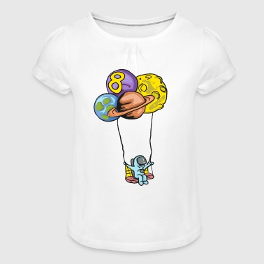 Astronaut with planet balloons - 8th birthday - Girl's T-Shirt with Ruffles