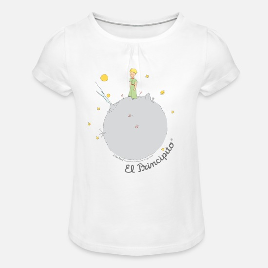 0d4c9dfaf8 Principito Camisetas - El Principito en su planeta - Camiseta con drapeado  niña blanco