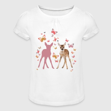 Butterfly Animal Planet Fawn And Butterflies - Girl's T-Shirt with Ruffles