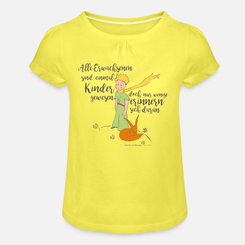 Der Kleine Prinz Mit Fuchs Zitat Erwachsene Mädchen T Shirt Mit Raffungen Gelb