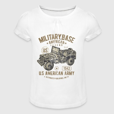 Auto Militaire basis - US Army Jeep Shirt Design - Meisjes-T-shirt met plooien