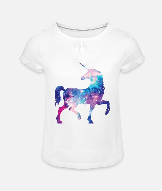 Galaxy T-Shirts - Unicorn with constellation design - Girls' Ruffle T-Shirt white