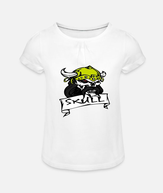 Skull And Bones T-Shirts - Pirate skull - Girls' Ruffle T-Shirt white