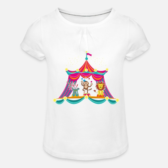 Circus T-shirts - Circus - Monkey Circus - Circus Animals Hare Lion - Meisjes T-shirt met plooien wit