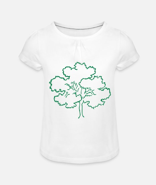 Nature T-Shirts - Tree Forest Nature - Girls' Ruffle T-Shirt white