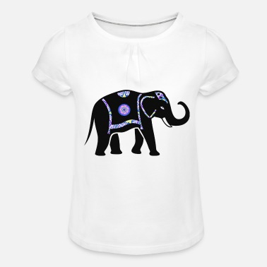 Pachyderm Elephant pachyderm with colorful pattern - Girls' Ruffle T-Shirt
