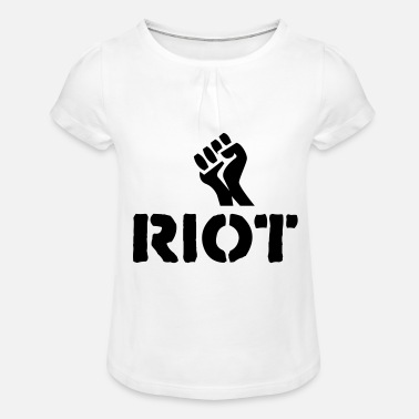 Riot riot fist - Girls' Ruffle T-Shirt