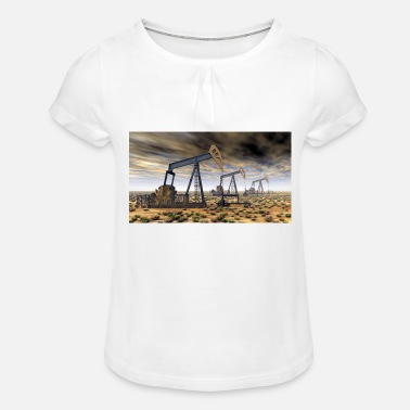 Oil Oil pumps, oil production, oil production, oil - Girls' Ruffle T-Shirt
