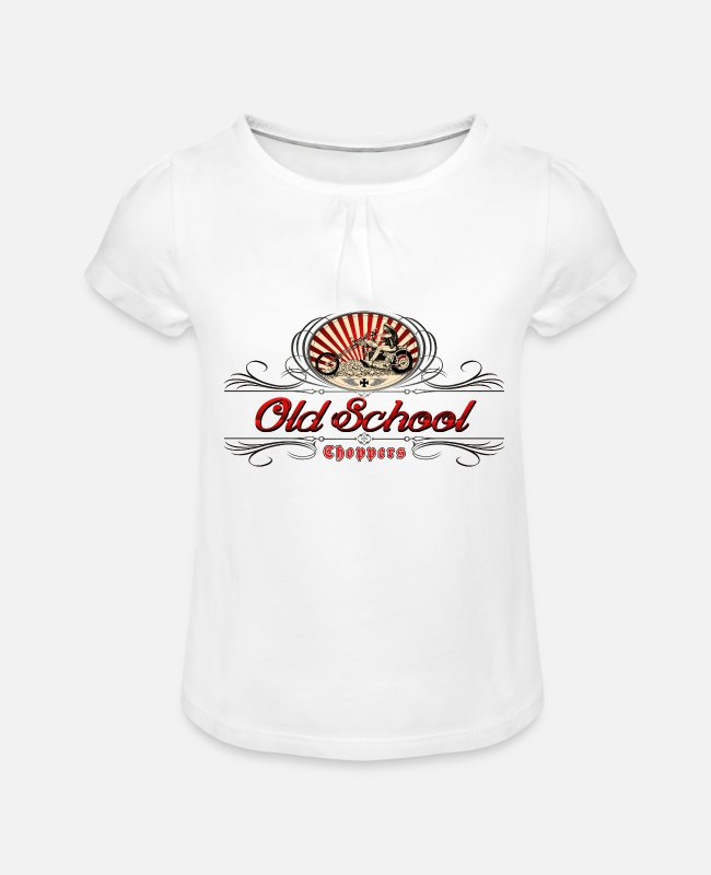 Red T-Shirts - Old school choppers - Girls' Ruffle T-Shirt white
