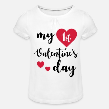 Valentines Day My 1st Valentines Day - Girls' Ruffle T-Shirt