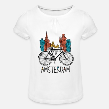 Holland Amsterdam - Holland Netherlands Retro Bicycle - Girls' Ruffle T-Shirt