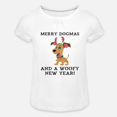 Woofy Merry Dogmas And A Woofy New Year Cute Dog Owner - Girls' Ruffle T-Shirt