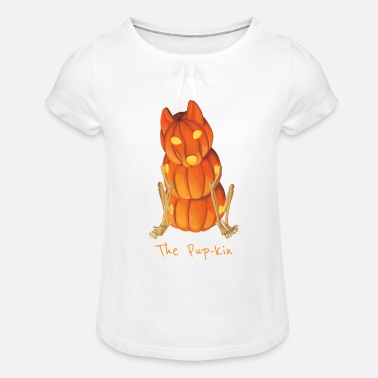 Kin The Pup-kin - Girls' Ruffle T-Shirt
