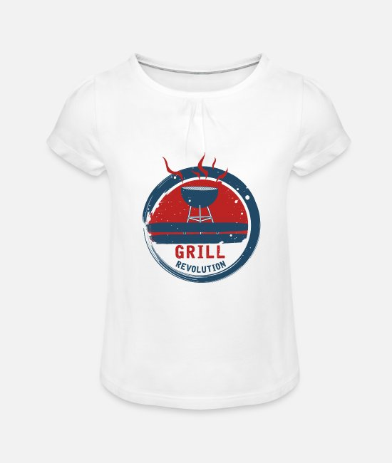 Grill Instructor T-Shirts - BBQ Revolution - BBQ Revolution - BBQ - Girls' Ruffle T-Shirt white