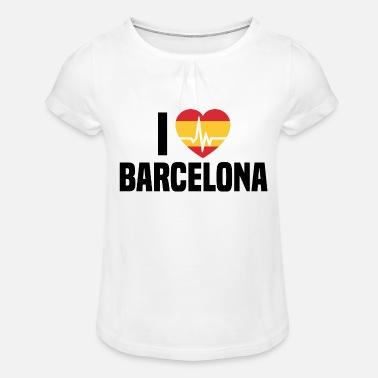 Me encanta vacaciones Barcelona BCN en Barcelona España - Camiseta con drapeado  niña 8dff58ede76