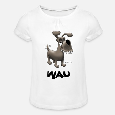 Wau Enillo Cartoon Dog Wau - Girls' Ruffle T-Shirt